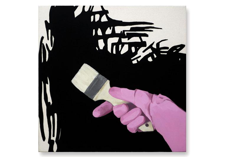 guante rosa sobre negro II